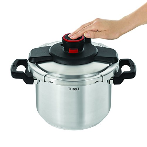 T-fal P45007 Clipso Stainless Steel Dishwasher Safe PTFE PFOA and Cadmium Free 12-PSI Pressure Cooker Cookware, 6.3-Quart, Silver by T-fal (Image #2)