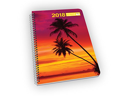 Weekly Planner - 2018 Calendar Year - Palm Trees and Sunset on Beach