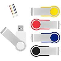 AreTop 5Pcs 4GB USB 2.0 Flash Drive Memory stick Fold Storage Thumb Stick Pen Swivel Design ( with lanyard)