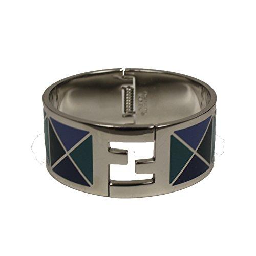 Fendi-FF-Fendista-Blue-Geometric-Pattern-Silver-Palladium-Click-Clack-Bangle-Bracelet-8AG137-F0P8U