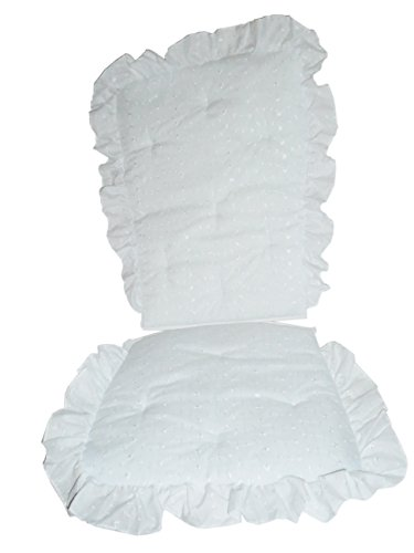 (Baby Doll Bedding Carnation Eyelet Adult Rocking Chair Cushion Pad Set, White)