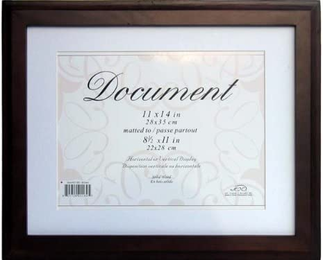 Pack of 8 Espresso Kiera Grace Oxford Document Frame 11 by 14-Inch Matted for 8.5 by 11-Inch