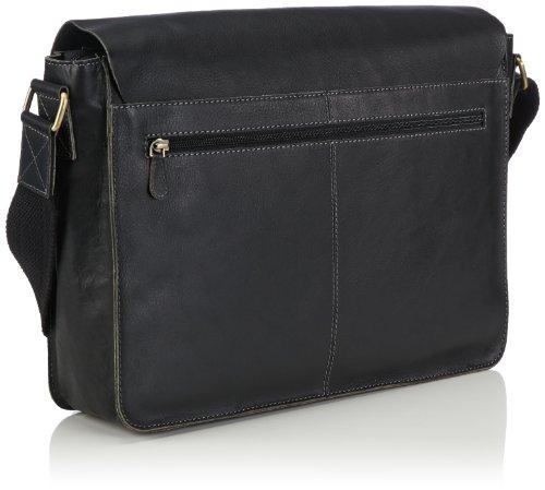Bruno Banani Teach, Borsa messenger con tasca per laptop, in pelle Nero (Schwarz (Schwarz))