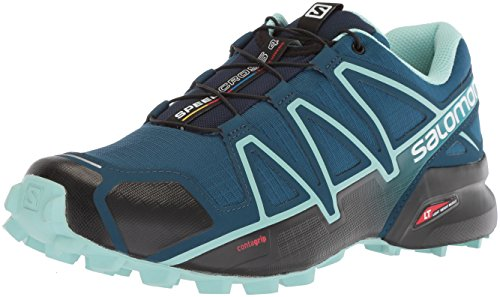 Salomon Women's Speedcross 4 W Trail Running Shoe, Poseidon, 9.5 Wide US