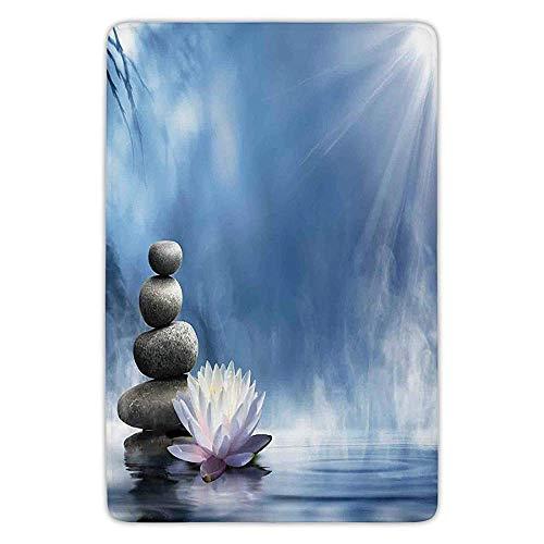 K0k2t0 Bathroom Bath Rug Kitchen Floor Mat Carpet,Spa Decor,Purity of The Zen Massage Magic Lily Stones Sunbeams Spirituality Serenity,Flannel Microfiber Non-Slip Soft Absorbent
