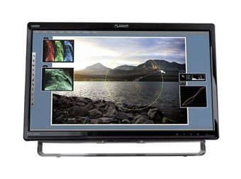 """Planar Systems PXL2430MW Wide Black LED Multi-Touch Optical Touchscreen with USB, Analog, DVI-D, HDMI, Internal Power, Speakers, 0-20 Tilt, 24"""" Display"""