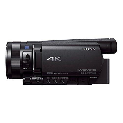 Sony FDR-AX100E 4K Ultra-HD-Camcorder (8,9 cm (3,5 Zoll) Display, 24p/25p/50p/50i Full-HD-Aufnahmen (4K in 24p/25p), eingebauter ND-Filter) schwarz
