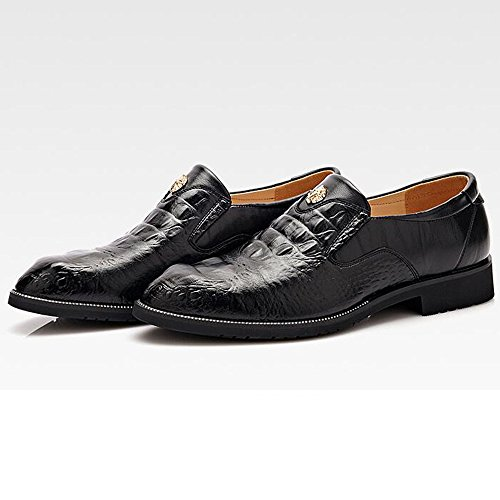 Amazon.com | Battle Men Mens Dress Shoes Breathable Leather Crocodile Skin Texture Business Loafers for Gentleman Fashion (Color : Black, Size : 6.5 MUS) | ...