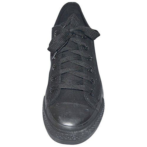 Black Sneakers 3 Lace Mens Top Shoes Classic S Canvas up Solid Low PwFq1dY