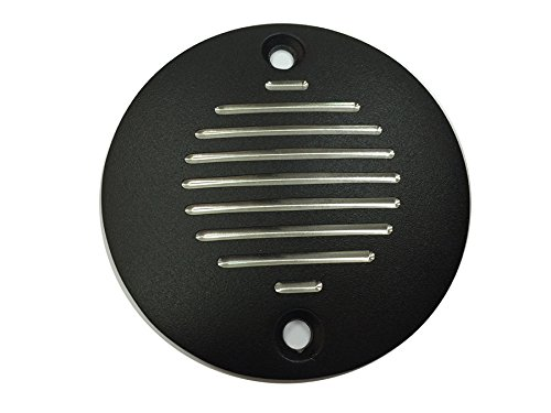 Harley Grooved Ignition System Cover 2-Hole Black