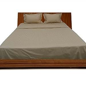 Dreamz ropa de cama muy suave algodón egipcio de 200hilos 5pc edredón de Reino Unido doble, Taupe rayas 100% algodón 200TC edredón