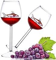 BSSN Juego de 2 copas de vino tinto creativas con tiburón rosa en el interior