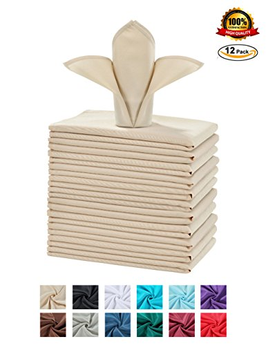 Beige Table Napkins (Cieltown Polyester Cloth Napkins 1-Dozen (17 x 17-Inch, beige))