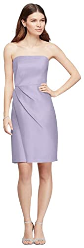 Mikado Short Bridesmaid Dress with Side Pleats Style F19225