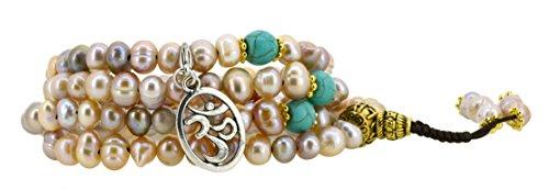 Pink and Purple Dyed Freshwater Cultured Pearls Yoga Meditation 108 Prayer Beads Mala Wrap Bracelet or Necklace (Om Symbol)