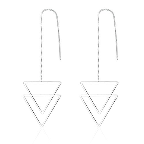 Anazoz Womens Earrings with Overlapping Inverted Triangle Pendant Dangle Earirngs Silver Plated - Earrings Inverted Triangle