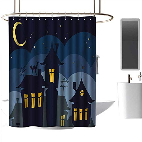 (alisoso Children Bathroom Shower Curtain Halloween,Old Town with Cat on The Roof Night Sky Moon and Stars Houses Cartoon Art,Black Yellow Blue 3D Printing Bath Curtain W108 x L72)