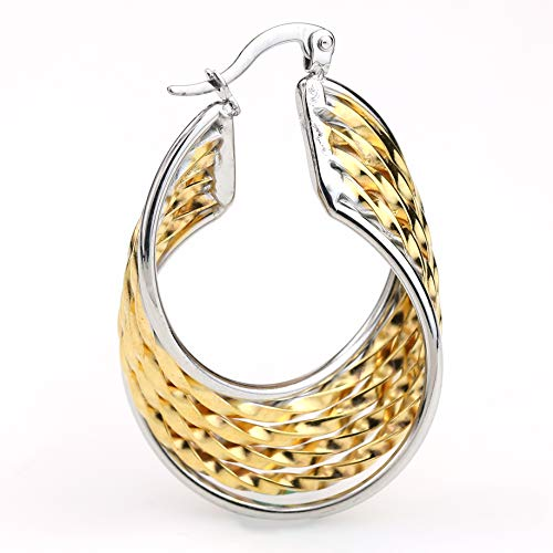 - United Elegance - Contemporary Polished Twisted & Twirled Two Tone Gold & Silver Hoop Earrings (Exquisite Twisted)