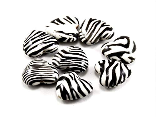 (The Design Cart Zebra Print Heart Plastic Printed Beads (27 mm) (1 String) - for Jewellery Making, Decoration, Art and Craft)