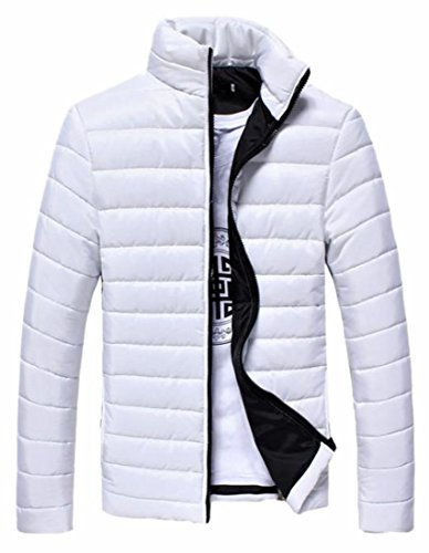 Warm Fly Collar White Year Front Zipper Jacket up Stand Solid Mens Paded Color uk 8ftTf