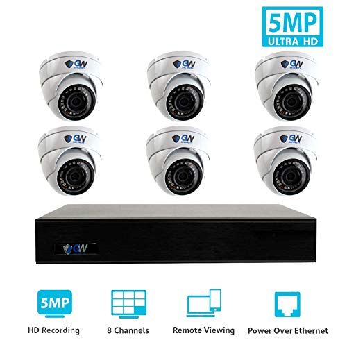 GW Security 9 Channel 4K NVR H.265 Onvif IP Security System with 6 HD IP PoE 5MP (1920P/1080P) Dome Security Camera For Sale