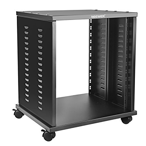 Neewer 12U Universal Equipment Rack Stand Open Frame with 4 Casters Black Finished, Perfect for Audio Video Equipment Storage (Rack Mount Recording)