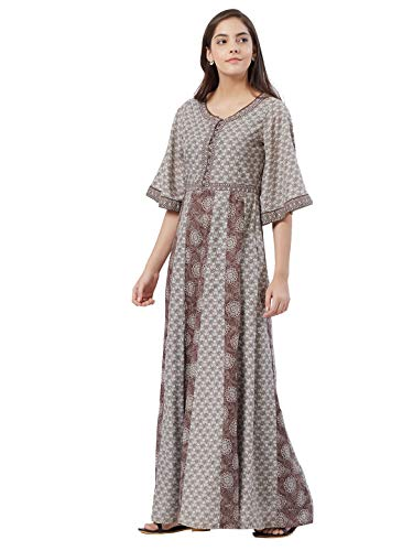 Fusion Beats Women Blended Viscose Brown All Over Print Maxi Dress