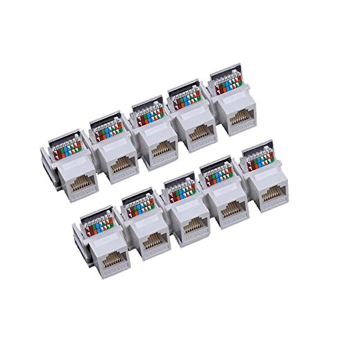 10pcs Tool-free CAT5E UTP Network Module RJ45 Connector Information Socket Computer Outlet Cable Adapter Keystone Jack FOR AMP