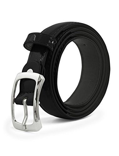 uxcell Women Single Pin Buckle Adjustable Patent PU Belt - Patent Buckle Black