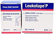 Leukotape P 1.5-Inch x 15-Yds & Cover-roll Stretch 2-Inch x 10-Yds Combo Pack (One Roll E