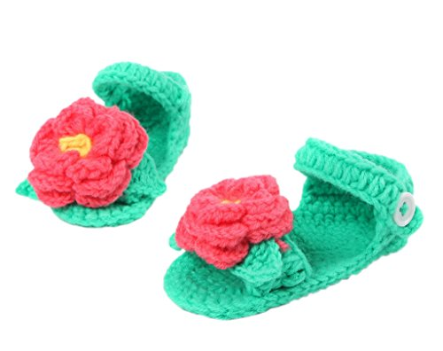 Smile YKK 1 Paar One Size Strick Schuh Baby Unisex süße Muster Strickschuh 11cm Rose Deko Grün
