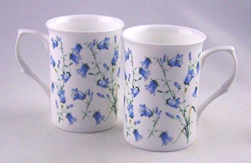 Pair (2) Fine English Bone China Mugs - Harebell (Bluebell) Chintz - England