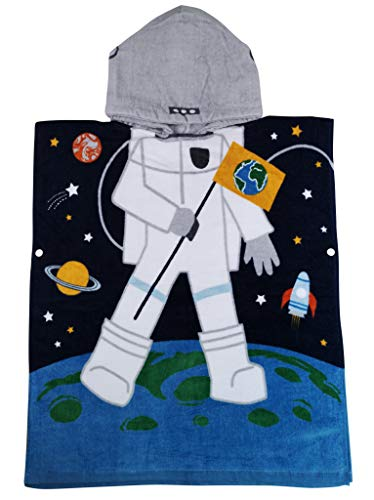 Athaelay Cotton Beach Towel for Age 2-7 Years Boy Toddlers and Children, Multi-use for Bath/Shower/Pool/Swim, Kids Hooded Poncho Bathrobe, Astronaut Theme -