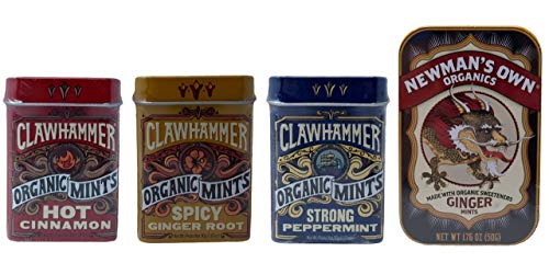 (Organic Mints Candy Tin 4 Flavor Variety Bundle, (1) each: Newman's Own Organics Ginger plus Clawhammer Hot Cinnamon, Spicy Ginger Root, Strong Peppermint (1.07-1.76 Ounces))