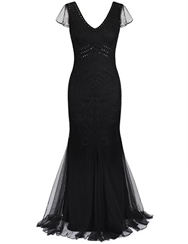 (PrettyGuide Women 1920s Prom Gown Long Cocktail Formal Evening Dress with Sleeve L)