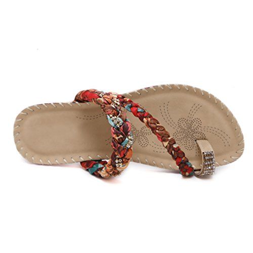 YoungSoul Women's Plaited Flip Flops with Embellished Rhinestone Summer Beach Slippers Toe-Ring Toe Post Flat Sandals apricot kXiFmH