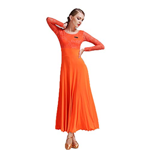Di Ballo Dress 2018 Fibra Latte Maniche Lunghe Abito Xl Sala Size Del Nuovo Lacy Costumi Qmkj Dance Latino In Gonna Prom 2xl Ventre Danza Arancio Stile Da Plus pTTw1dUxq