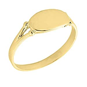 Amazon.com: Women's 10k Yellow Gold Signet Ring: Jewelry
