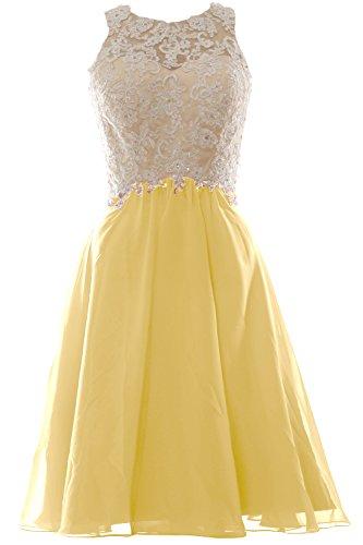 Formal High Chiffon Short Party Gown Women Lace Dress MACloth Neck Ball Prom Cream 8UwpSq5