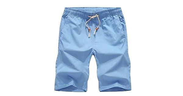 Andopa Mens Casual Cotton Solid Color Wide Elastic Waist Beach Midi Shorts