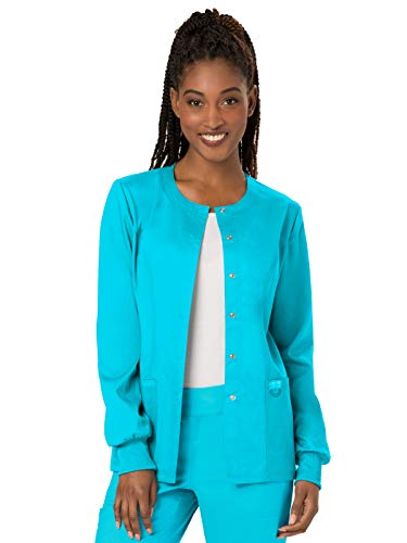 (Cherokee WW Revolution WW310 Snap Front Warm-Up Jacket Turquoise S)