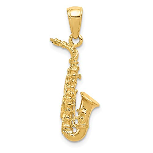 14k Yellow Gold 3 D Saxophone Pendant Charm Necklace Man Musical Instrument Fine Jewelry Gift For Dad Mens For Him