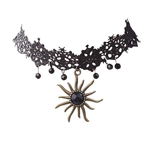 (Kaniem Pendant Choker Necklace Stretch Velvet Classic Gothic Tattoo Lace Choker Necklaces, Black)
