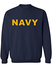 Navy NAVY Crewneck Sweatshirt with Gold print