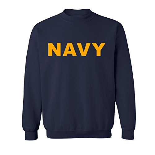 Navy NAVY Crewneck Sweatshirt with Gold print - (Old Navy Mens Pullover)
