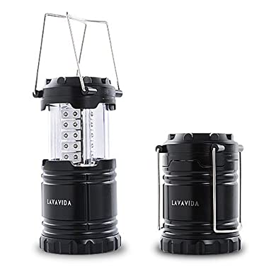 LAVAVIDA LED Camping Lantern - Safety Lamp Light for Emergency, Hiking, Fishing, Blackouts, Hurricanes, Storms - Portable, Collapsible, Water Resistant - Ultra Bright Flashlight - Black