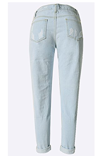 Women 's Casual Ripped Agujero Cortado Lavado Distressed Jeans Sueltos LightBlue