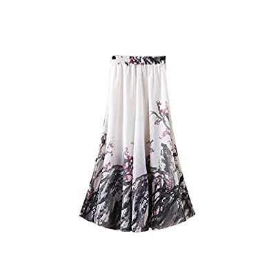 Kaxuyiiy Women's Boho Flower Chinese Painting Beach Maxi Elastic Waist Long Skirt
