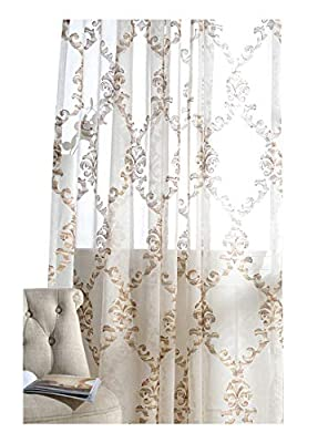 Modern Sheer Curtains Embroidered Style Voile Window Panels Treatments Rod Pocket for Living Room & Bedroom