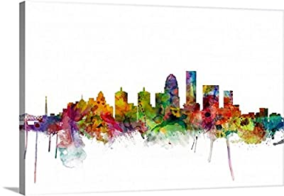 Michael Tompsett Premium Thick-Wrap Canvas Wall Art Print entitled Louisville Kentucky City Skyline
